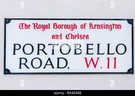 Road sign Portobello Road, Notting Hill, London, Great Britain - Stock Photo