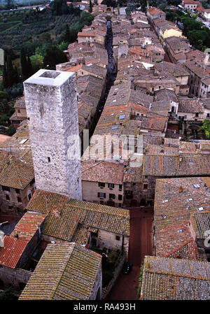 A tower in San Gimignano,Italy - Stock Photo