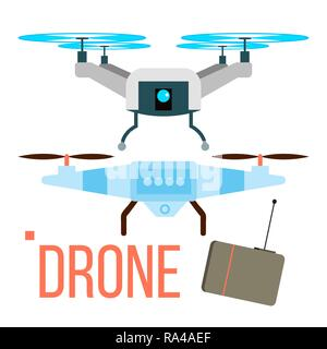 Drone Vector. Remote Aerial Quadcopter. Photo, Video, Delivery. Isolated Flat Cartoon Illustration - Stock Photo