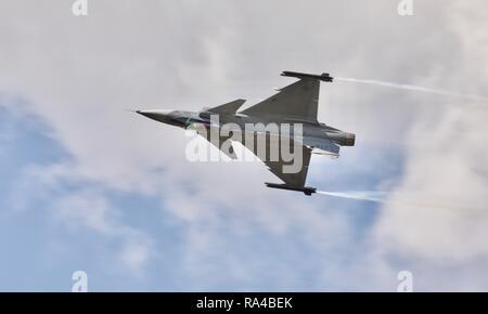 Swedish Air Force Saab JAS 39 Gripen performing at the 2018 Royal International Air Tattoo - Stock Photo