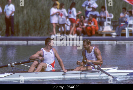 Barcelona, SPAIN. Gold medalist, GBR M2-, Bow Steven REDGRAVE and matthew PINSENT. 1992 Olympic Rowing Regatta Lake Banyoles, Catalonia [Mandatory Credit Peter Spurrier/ Intersport Images] - Stock Photo