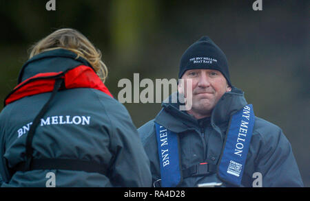 Putney; Great Britain;  2-13 Boat Race Umpire Sir Matthew PINSENT, between the two time pieces, during the 2013 Varsity Fixture, Cambridge UBC vs University of Washington; Putney to  Mortlake.   River Thames, London. Championship Course.  Saturday  16/02/2013 [Mandatory Credit. Peter Spurrier/Intersport Images] - Stock Photo