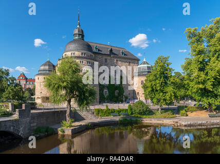Örebro Castle, a medieval fortification in the middle of the Svartån river, Orebro, Närke, Sweden - Stock Photo