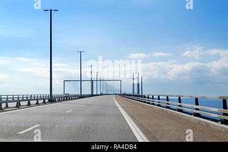 The Öresund Bridge between Sweden and Denmark (Öresundsbron or Øresundsbron) - Stock Photo