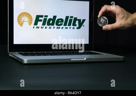Ethereum coin with the Fidelity logo on a laptop screen, Slovenia - December 23th, 2018 - Stock Photo