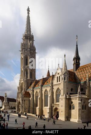 Matthias Church, Mátyás templon situated on the castle hill in Buda, UNESCO World Heritage Site, Budapest, Hungary - Stock Photo