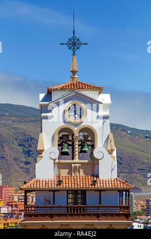 Church tower of the Basilica de Nuestra Senora de Candelaria, pilgrimage church, Candelaria, Tenerife, Canary Islands, Spain - Stock Photo