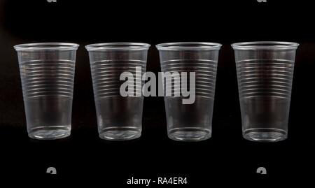 Disposable cups, plastic cups, transparent, 0, 2 litres, drinking cups, disposable cups, plastic waste - Stock Photo