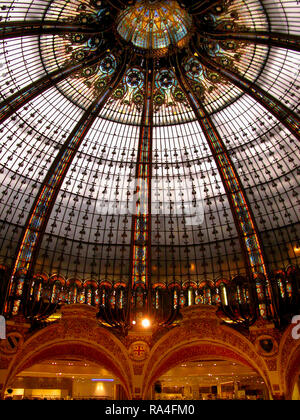 Galaries Lafayette and the stunning stained glass cuplola, 40 Boulevard Haussmann, Paris, France - Stock Photo