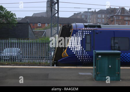Front side view of a class 380 EMU at Gourock station. - Stock Photo
