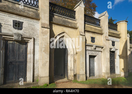 Entrance to catacombs West Highgate cemetery London England - Stock Photo