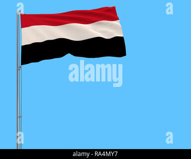 Flag of Yemen on the flagpole fluttering in the wind on a pure blue background, 3d rendering - Stock Photo