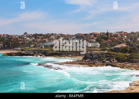 View onto Tamarama and Bronte beach seen from Mackenzies Point in summer on the Bondi to Coogee beach walk (Sydney, New South Wales, Australia) - Stock Photo
