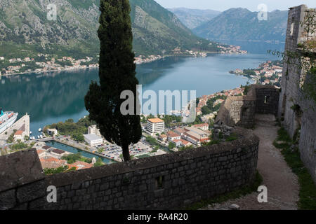 Views along the bay of Kotor from the battlements of the castle and forts above Kotor, Montenegro - Stock Photo