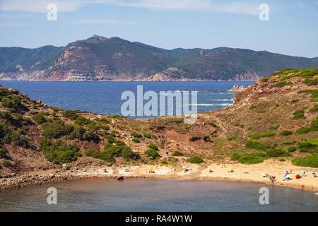 Alghero, Sardinia / Italy - 2018/08/11: Panoramic view of the Cala Porticciolo gulf in the Porto Conte Regional Park - Stock Photo