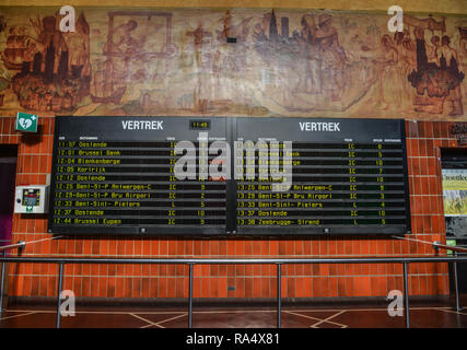 Bruges, Belgium - Oct 5, 2018. Train station departure display in Bruges, Belgium. Bruges (Brugge) is a picturesque city in Flanders, the northern Bel - Stock Photo