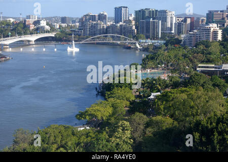 Aerial landscape view of Brisbane Southbank Parkland in Brisbane Queensland Australia. - Stock Photo