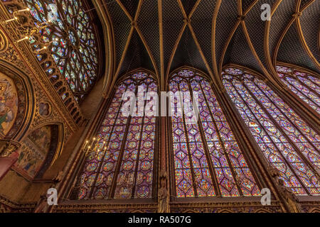 Detail of a stained glass window in Sainte-Chapelle , a royal chapel in the Gothic style, within the medieval Palais de la Cité , Paris - Stock Photo