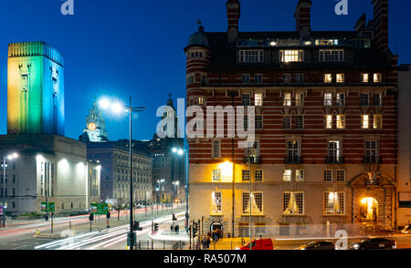 Albion House, 30 James St, Liverpool, ex White Star Shipping Line Building, now a Hotel. Liver and Cunard Building in Background. Taken in Nov 2018. - Stock Photo