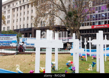 Buenos Aires State/Argentina 10/06/2014.Veterans camp of the Falklands war in the Plaza de Mayo. - Stock Photo