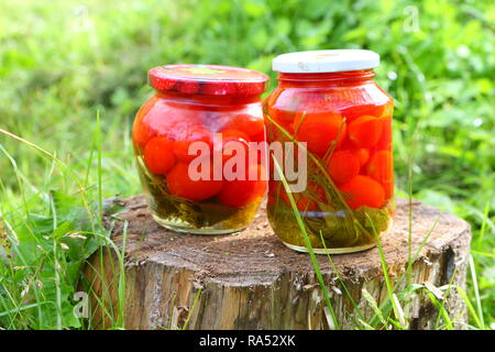 Marinated tomatoes in the country - Stock Photo