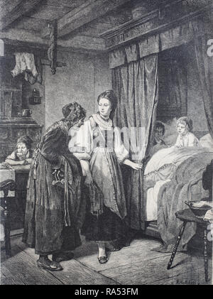 Digital improved reproduction, the godmother is visiting the godchild, godchildren, Besuch der Patin bei den Patenkindern, from an original print from the year 1865, 19th century, - Stock Photo