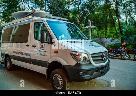 Bangladesh Television BTV Mercedes Benz Sprinter Outside Broadcast Van - Stock Photo