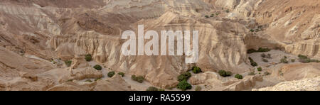 A deep dry river gorge cut in the dry sandstone by flood water. The only water that flows into the Dead Sea, Israel - Stock Photo