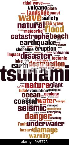 Tsunami word cloud concept. Vector illustration - Stock Photo