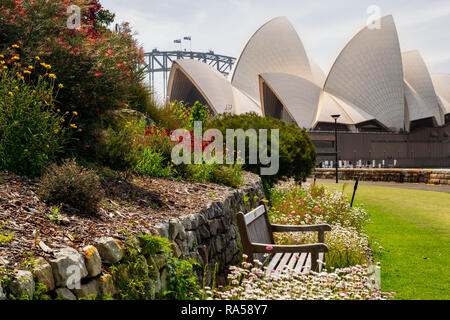 View from the Royal Botanic Garden on Sydney Opera House. - Stock Photo