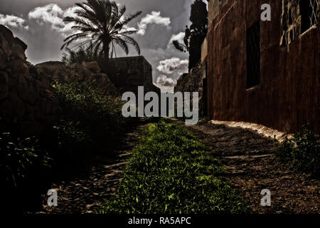 A path through the countryside in Marsaxlokk, Malta. - Stock Photo