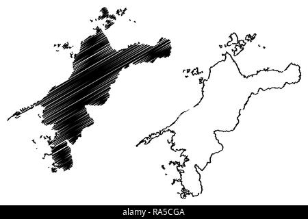 Ehime  Prefecture (Administrative divisions of Japan, Prefectures of Japan) map vector illustration, scribble sketch Ehime map - Stock Photo