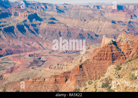 view of the colors of the  Grand Canyon from Lipan Point  lookout - Stock Photo