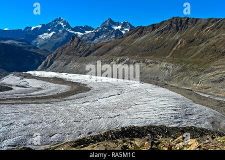 Gorner Glacier, behind Dent Blanche, Ober Gabelhorn and Wellenkuppe, Zermatt, Valais, Switzerland - Stock Photo