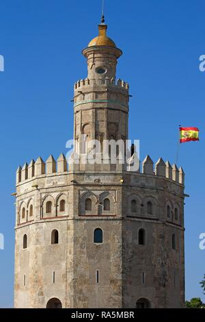 Gold Tower, Torre de Oro, Seville, Andalusia, Spain - Stock Photo