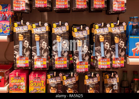 Elvis Presley Pez dispensers for sale at It'sugar, a candy by the pound store on Broadway in Greenwich Village, New York City.rock satr - Stock Photo