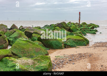 winter view of beach at caister norfolk uk - Stock Photo