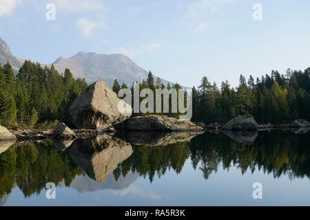 Boulder and pine forest reflected in Servaz lake, Mont Avic Natural Park, Aosta Valley, Italy - Stock Photo