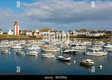 Boats in port, Guilvinec, Finistere, Brittany, France - Stock Photo