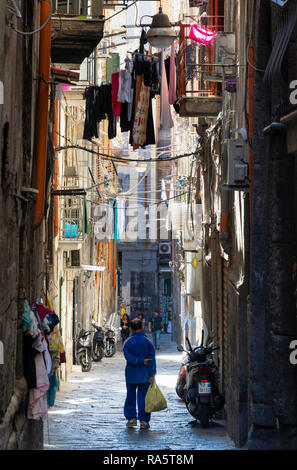 The Vico Maiorani a Typical narrow side street the Centro Storico, the  historical center of Naples, Italy. - Stock Photo