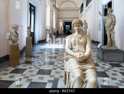 Roman period sculptures on display, including in the foreground, the so called, Agrippina, Neornian-Flavian. In the National Archaeological Museum at  - Stock Photo
