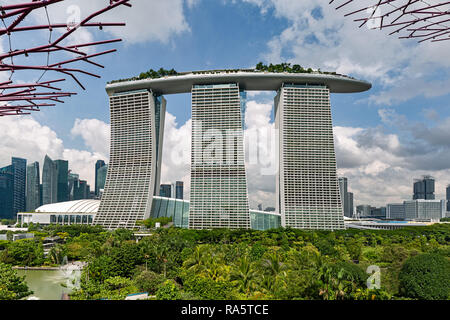 Bay Marina Sands Hotel viewed from the Supertree Grove in Singapore - Stock Photo