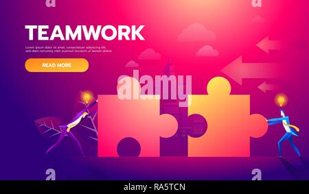 Business teamwork concept. Two businessmen connecting puzzle elements. Vector illustration flat style design metaphor. Combining two pieces. Symbol of working together, cooperation, partnership - Stock Photo