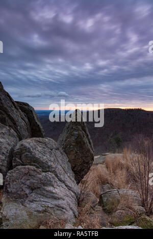 Pointed rock during sunrise at Tunnel overlook in Shenandoah National Park - Stock Photo