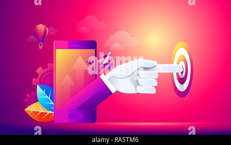 Isometric people person, startup start, hand presses start button, take off young businessmen, development and business start up, business concept - Stock Photo