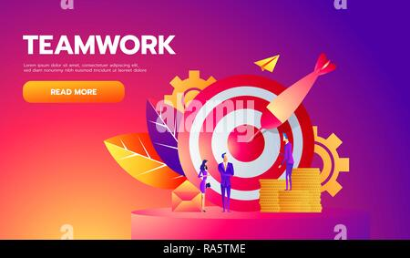 Teamwork, successful goal isometric concept. Target and arrow. Vector illustration - Stock Photo
