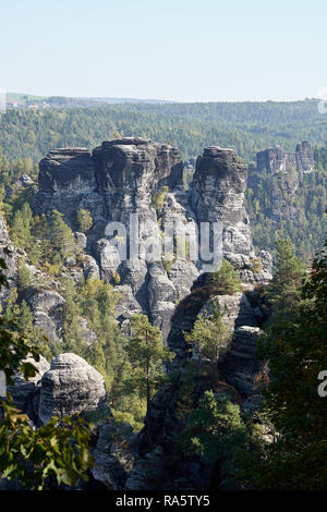 View of the rocks of the Elbe Sandstone Mountains near Rathen in Saxon Switzerland - Stock Photo