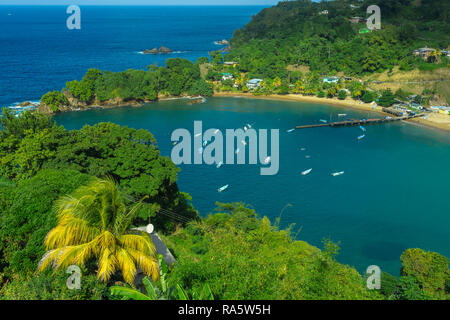Tobago, Parlatuvier Bay from the Glasgow Bar.Tobago is a small Caribbean island in the West Indies and is known as the original Robinson Crusoe Island - Stock Photo