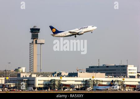 Lufthansa Boeing 737 taking off at Duesseldorf International Airport, Air Traffic Control Tower, Duesseldorf - Stock Photo