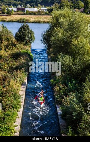 Boat slide for canoes and kayaks, on the Ruhr river near Hattingen, North Rhine-Westphalia - Stock Photo